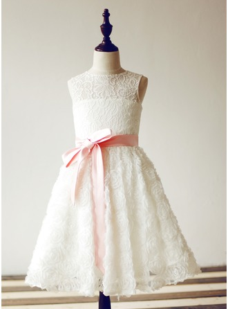 A-Line/Princess Knee-length Flower Girl Dress - Lace Sleeveless Jewel With Sash/Flower(s)/Back Hole