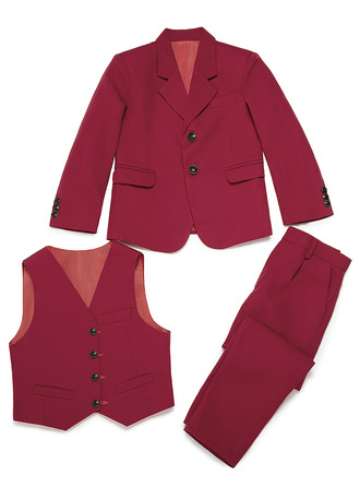 Boys 3 Pieces Solid Ring Bearer Suits /Page Boy Suits With Jacket Vest Pants