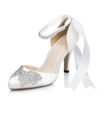 Women's Leatherette Stiletto Heel Pumps With Rhinestone Ribbon Tie