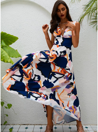 Print Backless A-line V-Neck Sleeveless Maxi Sexy Skater Dresses