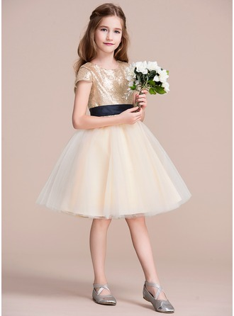 A-Line/Princess Knee-length Flower Girl Dress - Tulle/Sequined Short Sleeves Scoop Neck With Sash
