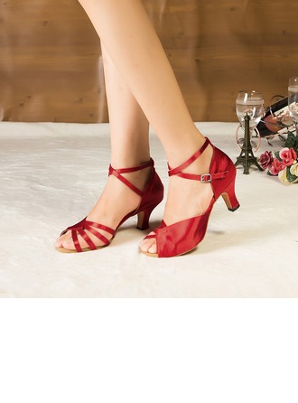 Women's Satin Heels Sandals Pumps Latin Modern Party Dance Shoes