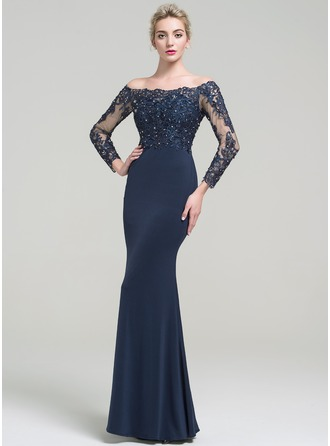 Trumpet/Mermaid Off-the-Shoulder Floor-Length Jersey Prom Dress With Beading Sequins