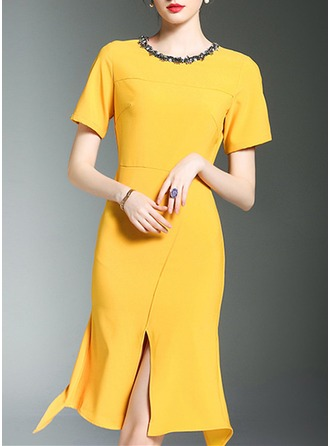 Polyester With Beaded/Stitching Knee Length Dress