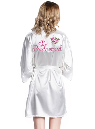 Personalized Bride Bridesmaid Satin With Short Personalized Robes Satin Robes