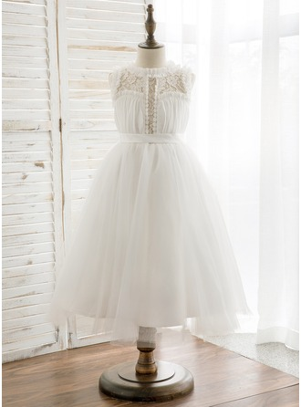 Tea-length Flower Girl Dress - Chiffon Tulle Lace Sleeveless Scoop Neck With Pleated