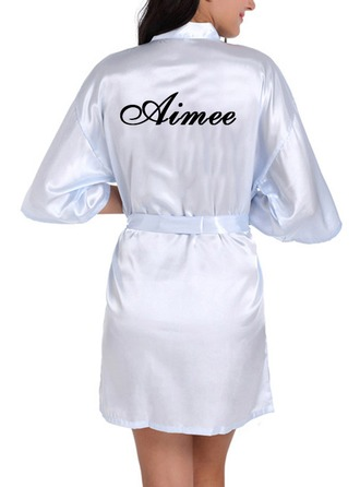 Personalized Charmeuse Bride Bridesmaid Embroidered Robes