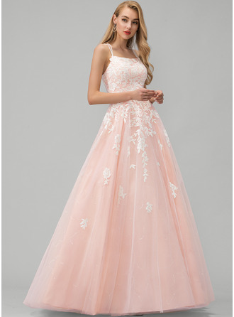 Square Neckline Floor-Length Tulle Prom Dresses With Lace Sequins