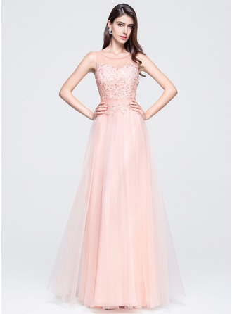 Scoop Neck Floor-Length Tulle Prom Dresses