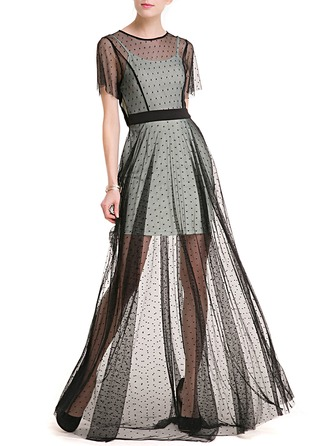 Lace/Tulle With Lace Maxi Dress