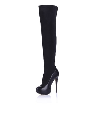 Leatherette Cloth Stiletto Heel Over The Knee Boots shoes