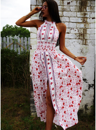 Floral Print A-line Round Neck Sleeveless Maxi Boho Casual Vacation Skater Dresses