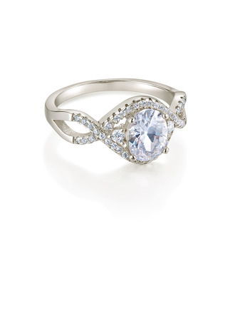 Sterling Silver Cubic Zirconia Engagement Rings Promise Rings -