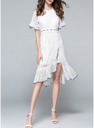 Cotton With Stitching Asymmetrical Dress