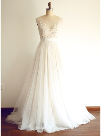 A-Line/Princess Scoop Neck Sweep Train Wedding Dress With Beading Appliques Lace Sequins