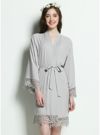Cotton Bride Lace Robes Glitter Print Robes