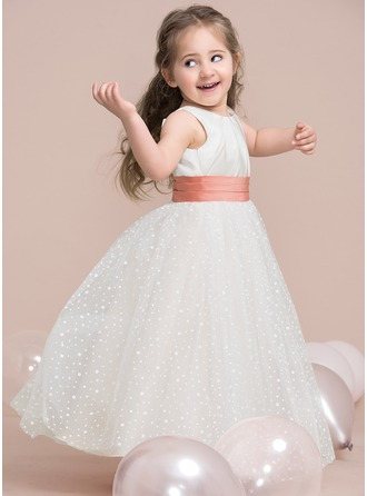 A-Line/Princess Scoop Neck Floor-Length Tulle Junior Bridesmaid Dress With Ruffle Sequins