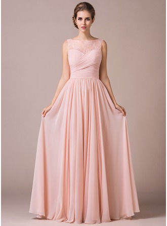 Chiffon Lace A-Line Floor-length Bridesmaid Dress