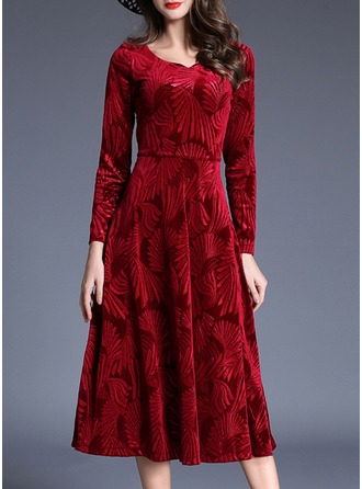 Velvet With Stitching Midi Dress