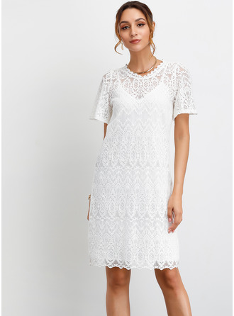 Lace With Lace/Hollow/Solid Knee Length Dress