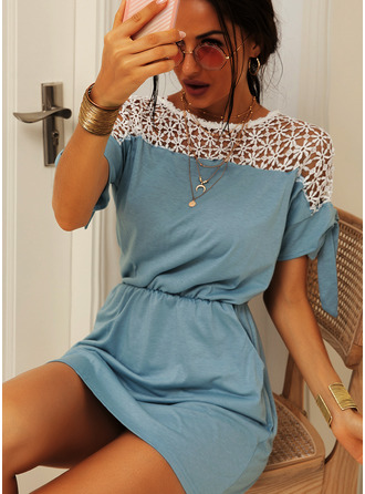 Lace Sheath Round Neck 1/2 Sleeves Midi Casual Dresses