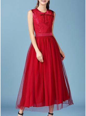 Lace/Chiffon With Bowknot/Stitching/Resin solid color Maxi Dress