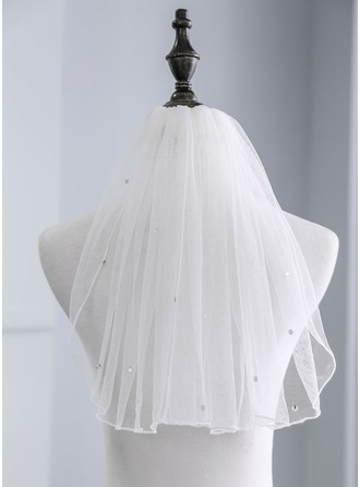 One-tier Shoulder Veils With Rhinestones
