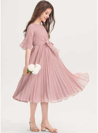 Scoop Neck Knee-Length Chiffon Junior Bridesmaid Dress With Bow(s) Pleated