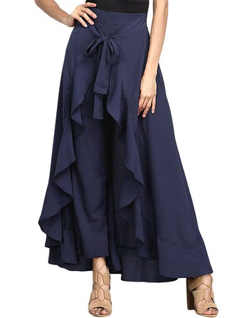 A-Line Skirts Maxi Plain Cotton Blends Skirts