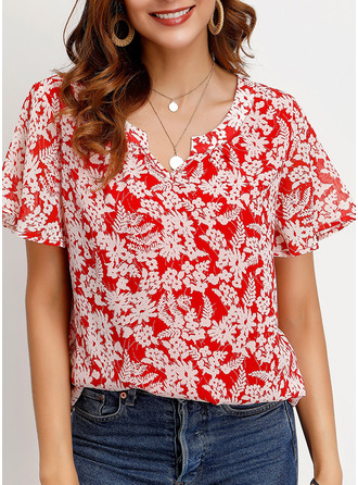 Short Sleeves Chiffon V Neck ()