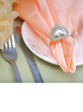 Heart Shaped Alloy Napkin Rings With Pearl
