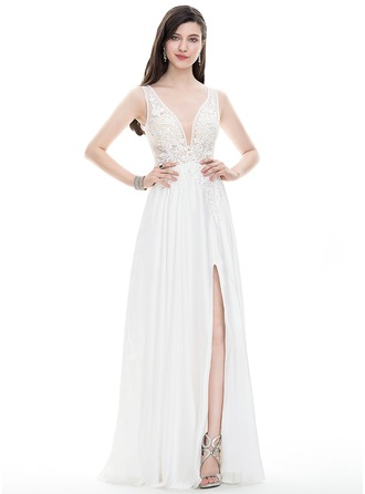 A-Line/Princess V-neck Floor-Length Satin Chiffon Prom Dress With Beading Sequins