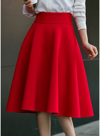 A-Line Skirts Knee Length Plain Cotton Skirts