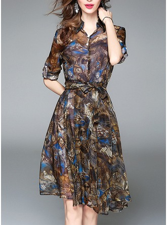 Chiffon With Print Knee Length Dress