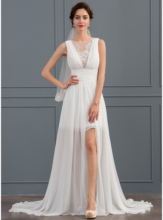 Scoop Neck Sweep Train Chiffon Wedding Dress With Ruffle Lace Split Front