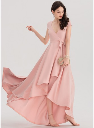 A-Line/Princess V-neck Asymmetrical Satin Prom Dresses