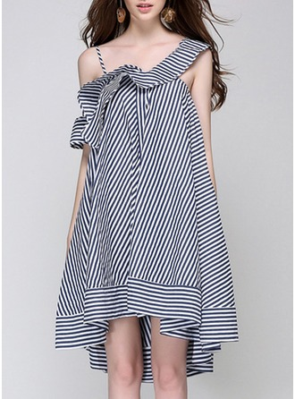 Polyester With Stitching/Print/Ruffles Asymmetrical Dress
