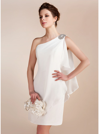 Sheath/Column One-Shoulder Short/Mini Chiffon Wedding Dress
