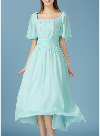 Chiffon With Stitching/Resin solid color Midi Dress