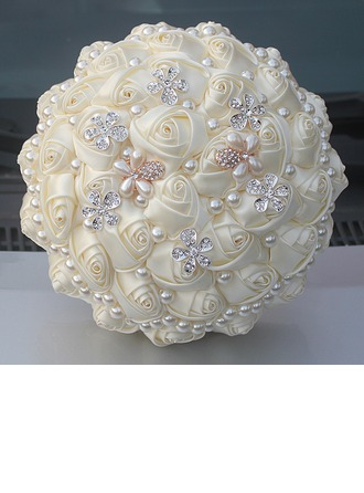 Round Satin/Rhinestone/Imitation Pearl Bridal Bouquets (Sold in a single piece) -