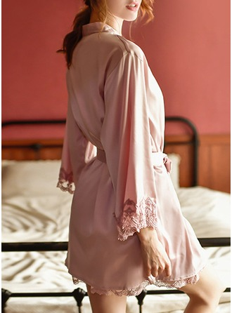 Non-personalized Polyester Bride Bridesmaid Mom Blank Robes Lace Robes