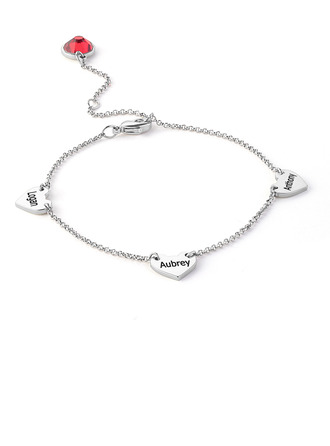 Christmas Gifts For Her - Custom Platinum Plated Sterling Silver Delicate Chain Name Bracelets With Heart