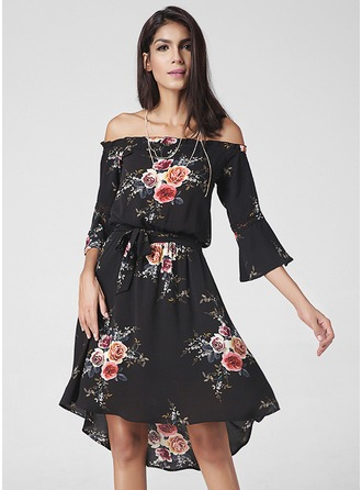 A-Line/Princess Off-the-Shoulder Asymmetrical Cocktail Dress