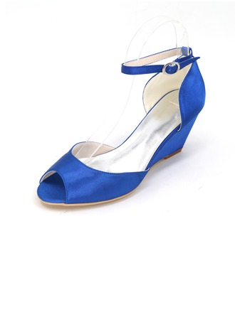Women's Satin Stiletto Heel Peep Toe Pumps Wedges With Buckle
