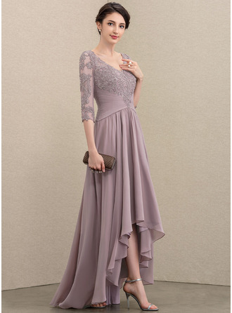 V-neck Asymmetrical Chiffon Lace Mother of the Bride Dress With Sequins