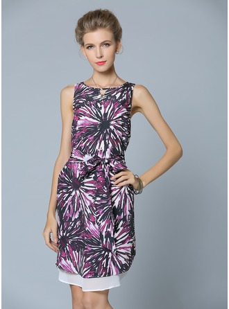 Polyester/Chiffon With Print Above Knee Dress