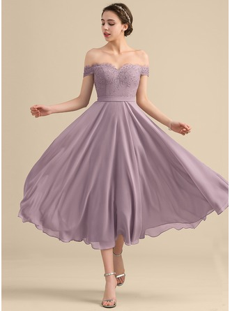 Off-the-Shoulder Tea-Length Chiffon Lace Cocktail Dress With Beading Sequins