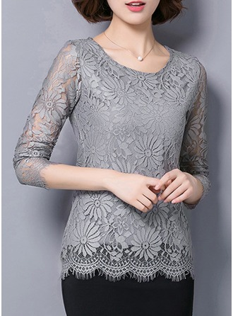Lace Round Neck Lace Long Sleeves Casual Blouses