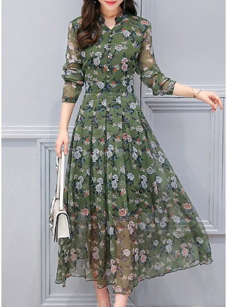 Chiffon With Stitching Midi Dress