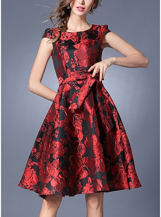 Polyester With Bowknot/Crumple Above Knee Dress
